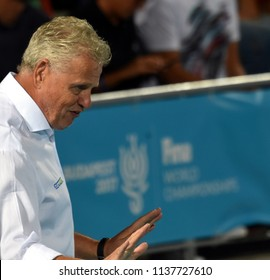 Budapest, Hungary - Jul 25, 2017. GERENDAS Gyorgy coach of Hungary Men Waterpolo team. FINA Waterpolo World Championship was held in Alfred Hajos Swimming Centre in 2017.