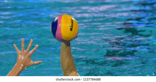Budapest, Hungary - Jul 25, 2017. Waterpolo player swimming with the ball. FINA Waterpolo World Championship was held in Alfred Hajos Swimming Centre in 2017.