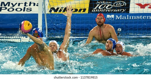 Budapest, Hungary - Jul 25, 2017. Hungarian waterpolo team (NAGY Viktor goalkeeper, TOROK Bela) defend against russian players (LISUNOV Sergey, SHEPELEV Roman). FINA Waterpolo World Championship.