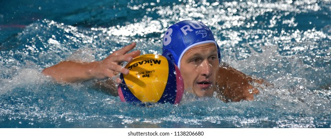 Budapest, Hungary - Jul 25, 2017. NAGAEV Ivan (8) russian waterpolo player. FINA Waterpolo World Championship was held in Alfred Hajos Swimming Centre in 2017.