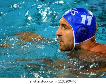 Budapest, Hungary - Jul 25, 2017. LISUNOV Sergey (11) russian waterpolo player, captain of the team. FINA Waterpolo World Championship was held in Alfred Hajos Swimming Centre in 2017.