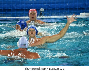 Budapest, Hungary - Jul 25, 2017. SHEPELEV Roman (12) russian waterpolo player. FINA Waterpolo World Championship was held in Alfred Hajos Swimming Centre in 2017.