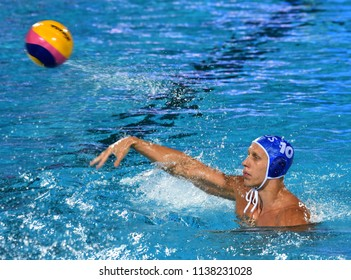Budapest, Hungary - Jul 25, 2017. KHOLOD Dmitrii (10) russian waterpolo player. FINA Waterpolo World Championship was held in Alfred Hajos Swimming Centre in 2017.