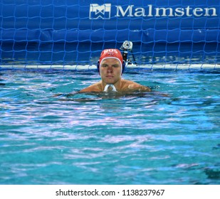 Budapest, Hungary - Jul 25, 2017. KORNEEV Kirill (1) goalkeeper of the russian waterpolo team. FINA Waterpolo World Championship was held in Alfred Hajos Swimming Centre in 2017.