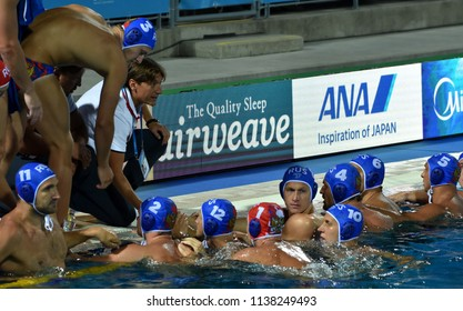 Budapest, Hungary - Jul 25, 2017. EVSTIGNEEV Sergey head coach and the russian men waterpolo team in the break. FINA Waterpolo World Championship was held in Alfred Hajos Swimming Centre in 2017.