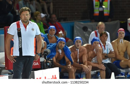 Budapest, Hungary - Jul 25, 2017. EVSTIGNEEV Sergey head coach and the russian men waterpolo team. FINA Waterpolo World Championship was held in Alfred Hajos Swimming Centre in 2017.