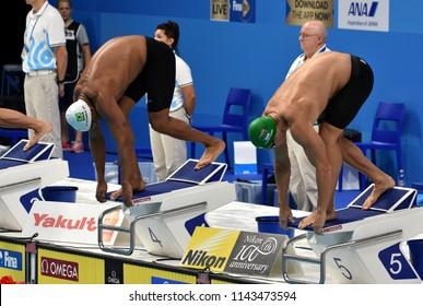 Budapest, Hungary - Jul 25, 2017. Competitive swimmer VAN DER BURGH Cameron (RSA) swimming breastroke. FINA Swimming World Championship Preliminary Heats in Duna Arena.