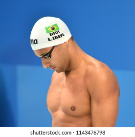 Budapest, Hungary - Jul 25, 2017. Competitive swimmer LIMA Felipe (BRA) swimming breastroke. FINA Swimming World Championship Preliminary Heats in Duna Arena.
