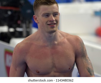Budapest, Hungary - Jul 25, 2017. Competitive swimmer PEATY Adam (GBR) swimming breastroke. FINA Swimming World Championship Preliminary Heats in Duna Arena.
