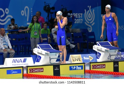 Budapest, Hungary - Jul 25, 2017. Competitive swimmer VERRASZTO Evelin (HUN) and MUREZ Andrea (ISR) swimming freestyle. FINA Swimming World Championship Preliminary Heats Duna Arena