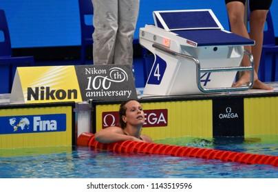 Budapest, Hungary - Jul 25, 2017. Competitive swimmer PELLEGRINI Federica (ITA) swimming freestyle. FINA Swimming World Championship Preliminary Heats in Duna Arena.
