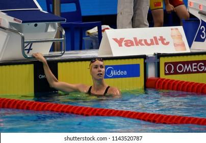 Budapest, Hungary - Jul 25, 2017. Competitive swimmer MCKEON Emma  (AUS) swimming freestyle. FINA Swimming World Championship Preliminary Heats in Duna Arena.