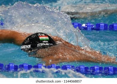 Budapest, Hungary - Jul 25, 2017. Competitive swimmer GYURTA Gergely (HUN) swimming 800m freestyle. FINA Swimming World Championship Preliminary Heats in Duna Arena.