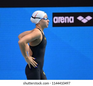 Budapest, Hungary - Jul 25, 2017. Competitive swimmer KESELY Ajna (HUN) in the 1500m freestyle final. FINA Swimming World Championship Final in Duna Arena.