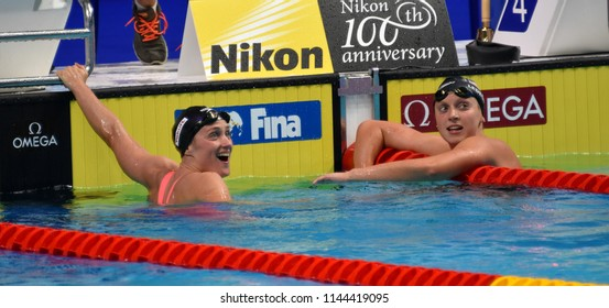Budapest, Hungary - Jul 25, 2017. Competitive swimmer LEDECKY Katie (USA) and BELMONTE Mireia (ESP) after the 1500m freestyle final. FINA Swimming World Championship Final in Duna Arena.