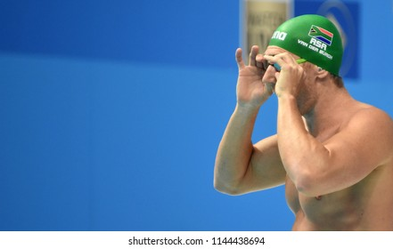 Budapest, Hungary - Jul 25, 2017. Competitive swimmer VAN DER BURGH Cameron (RSA) in the 50m breaststroke Semifinal. FINA Swimming World Championship was held in Duna Arena.