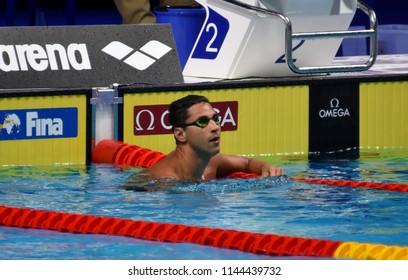 Budapest, Hungary - Jul 25, 2017. Competitive swimmer LIMA Felipe (BRA) in the 50m breaststroke. FINA Swimming World Championship Semifinal in Duna Arena.