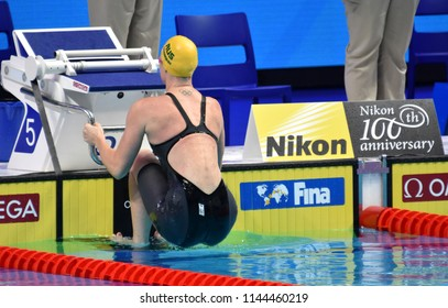 Budapest, Hungary - Jul 25, 2017. Competitive swimmer SEEBOHM Emily (AUS) in the 100m backstroke Final. FINA Swimming World Championship was held in Duna Arena.