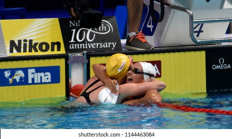 Budapest, Hungary - Jul 25, 2017. Competitive swimmer SEEBOHM Emily (AUS) and MASSE Kylie Jacqueline (CAN) after the 100m backstroke Final. FINA Swimming World Championship was held in Duna Arena.