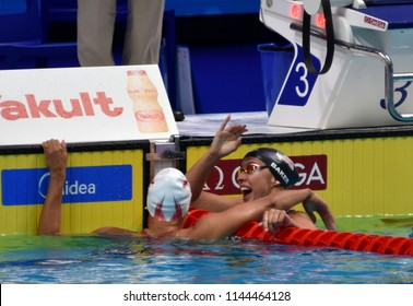 Budapest, Hungary - Jul 25, 2017. Competitive swimmer MASSE Kylie Jacqueline (CAN) and BAKER Kathleen (USA) after the 100m backstroke Final. FINA Swimming World Championship was held in Duna Arena.