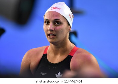 Budapest, Hungary - Jul 25, 2017. Competitive swimmer MASSE Kylie Jacqueline (CAN) after the 100m backstroke Final. FINA Swimming World Championship was held in Duna Arena.