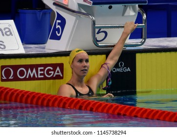 Budapest, Hungary - Jul 25, 2017. Competitive swimmer MCKEON Emma (AUS) in the 200m freestyle Semifinal. FINA Swimming World Championship was held in Duna Arena.