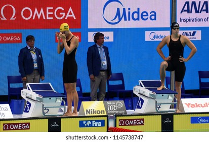 Budapest, Hungary - Jul 25, 2017. Competitive swimmer MCKEON Emma (AUS) and LEDECKY Katie (USA) in the 200m freestyle Semifinal. FINA Swimming World Championship was held in Duna Arena.