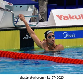 Budapest, Hungary - Jul 25, 2017. Competitive swimmer PELLEGRINI Federica (ITA) in the 200m freestyle Semifinal. FINA Swimming World Championship was held in Duna Arena.