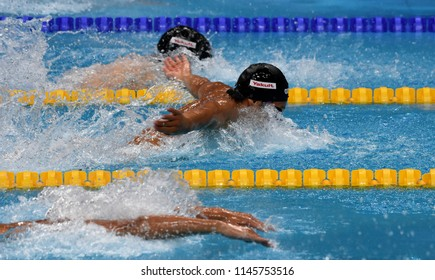Budapest, Hungary - Jul 25, 2017. Competitive swimmer SETO Daiya (JPN) in the 200m butterfly Semifinal. FINA Swimming World Championship was held in Duna Arena.
