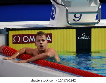 Budapest, Hungary - Jul 25, 2017. Competitive swimmer KENDERESI Tamas (HUN) in the 200m butterfly Semifinal. FINA Swimming World Championship was held in Duna Arena.