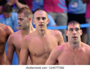 Budapest, Hungary - Jul 25, 2017. Competitive swimmer CSEH Laszlo (HUN) and KENDERESI Tamas (HUN) after the 200m butterfly Semifinal. FINA Swimming World Championship was held in Duna Arena.