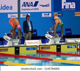Budapest, Hungary - Jul 25, 2017. Competitive swimmer EFIMOVA Yuliya (RUS) and MEILUTYTE Ruta (LTU) in the 100m breaststroke Final. FINA Swimming World Championship was held in Duna Arena.