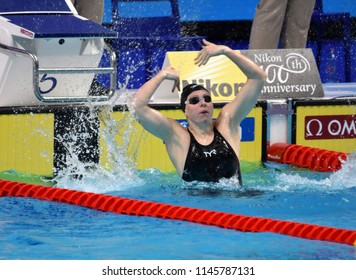 Budapest, Hungary - Jul 25, 2017. Competitive swimmer KING Lilly (USA) winner of the 100m breaststroke Final. FINA Swimming World Championship was held in Duna Arena.