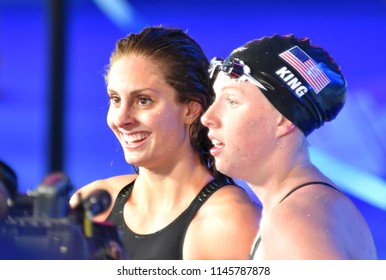 Budapest, Hungary - Jul 25, 2017. Competitive swimmer MEILI Katie (USA) and KING Lilly (USA) winner of the 100m breaststroke Final. FINA Swimming World Championship was held in Duna Arena.