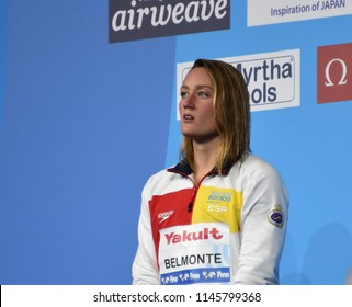 Budapest, Hungary - Jul 25, 2017. Competitive swimmer BELMONTE Mireia (ESP) at the Victory Ceremony of the Women's 1500m Freestyle. FINA Swimming World Championship was held in Duna Arena.