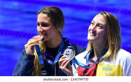 Budapest, Hungary - Jul 25, 2017. QUADARELLA Simona (ITA) and BELMONTE Mireia (ESP) at the Victory Ceremony of the Women's 1500m Freestyle. FINA Swimming World Championship was held in Duna Arena.