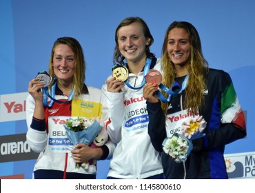 Budapest, Hungary - Jul 25, 2017. BELMONTE Mireia (ESP), LEDECKY Katie (USA) and QUADARELLA Simona (ITA) and at the Victory Ceremony of the Women's 1500m Freestyle. FINA Swimming World Championship