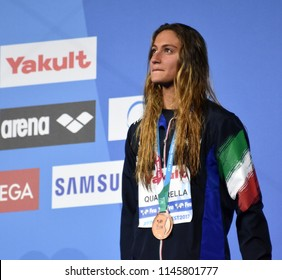 Budapest, Hungary - Jul 25, 2017. Competitive swimmer QUADARELLA Simona (ITA) at the Victory Ceremony of the Women's 1500m Freestyle. FINA Swimming World Championship was held in Duna Arena.