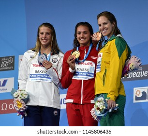 Budapest, Hungary - Jul 25, 2017. BAKER Kathleen (USA), MASSE Kylie Jacqueline (CAN) and SEEBOHM Emily  (AUS) at the Victory Ceremony of the Women's 100m Backstroke. Swimming World Championship.
