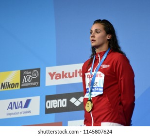 Budapest, Hungary - Jul 25, 2017. MASSE Kylie Jacqueline (CAN) at the Victory Ceremony. Winner of the Women's 100m Backstroke. FINA Swimming World Championship was held in Duna Arena.