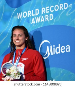 Budapest, Hungary - Jul 25, 2017. MASSE Kylie Jacqueline (CAN) winner of the Women's 100m Backstroke with World Record. FINA Swimming World Championship was held in Duna Arena.