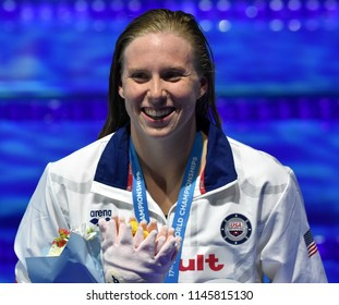 Budapest, Hungary - Jul 25, 2017. Competitive swimmer KING Lilly (USA) at the Victory Ceremony. Winner of the Women's 100m Breaststroke. FINA Swimming World Championship was held in Duna Arena.