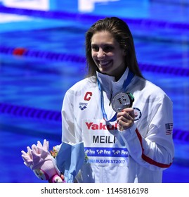 Budapest, Hungary - Jul 25, 2017. Competitive swimmer MEILI Katie (USA) at the Victory Ceremony of the Women's 100m Breaststroke. FINA Swimming World Championship was held in Duna Arena.