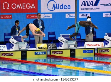 Budapest, Hungary - Jul 25, 2017. Competitive swimmer CARTWRIGHT Jack (AUS) and METELLA Mehdy (FRA) in the 100m freestyle Semifinal. FINA Swimming World Championship was held in Duna Arena.