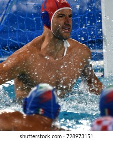 Budapest, Hungary - Jul 25, 2017. TEMPESTI Stefano, goalkeeper of the Italy team. FINA Waterpolo World Championship was held in Alfred Hajos Swimming Centre in 2017.