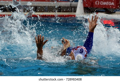 Budapest, Hungary - Jul 25, 2017. BODEGAS Michael Alexandre (ITA) (in blue) fights against SUKNO Sandro (CRO). FINA Waterpolo World Championship was held in Alfred Hajos Swimming Centre in 2017.