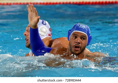Budapest, Hungary - Jul 25, 2017. BODEGAS Michael Alexandre (ITA) (in blue) fights against BUSLJE Andro (CRO). FINA Waterpolo World Championship was held in Alfred Hajos Swimming Centre in 2017.