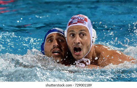 Budapest, Hungary - Jul 25, 2017. BERTOLI Zeno (ITA) (in blue) fights against SETKA Andelo (CRO). FINA Waterpolo World Championship was held in Alfred Hajos Swimming Centre in 2017.