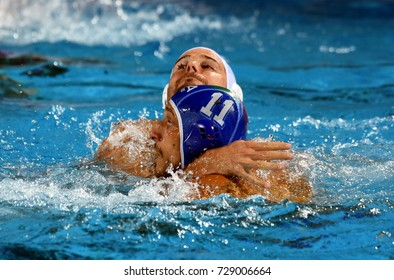 Budapest, Hungary - Jul 25, 2017. AICARDI Matteo (ITA) (in blue) fights against BULJUBASIC Ivan (CRO). FINA Waterpolo World Championship was held in Alfred Hajos Swimming Centre in 2017.