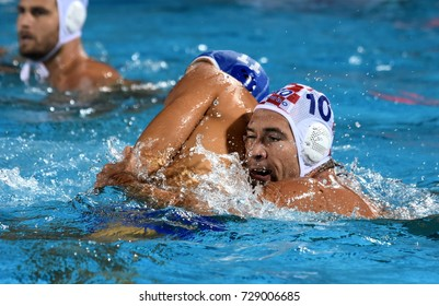 Budapest, Hungary - Jul 25, 2017. AICARDI Matteo (ITA) (in blue) fights against KRAPIC Ivan (CRO). FINA Waterpolo World Championship was held in Alfred Hajos Swimming Centre in 2017.